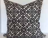 Geometric Decorative Pillow Cover in Lace It Up Ebony and Candid Moment Valance/Euro