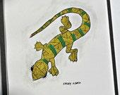 Florida Anole yellow original drawing painting lizard