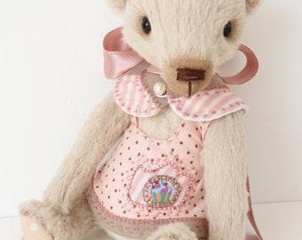Hand made Collectable artist teddy bear stuffed animal OOAK Aida