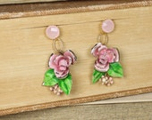 A Rosy Outlook- Antique Austrian Enamel Upcycled Earrings- Pale Pink Roses- Pink crystal rhinestone posts- Gold Plated- One of a Kind