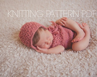 KNITTING pattern Kendall lace bonnet and romper newborn baby girl may sell all finished items photography prop