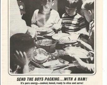 1964 Advertisement Ham Visking Company Baseball Team Boys 60s Black and White Coach Kitchen Diner Cafe Restaurant Coffee Shop Wall Art Decor