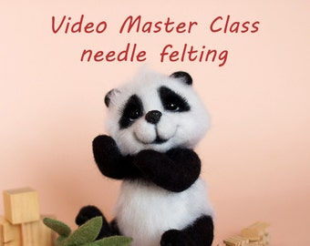 Video Master Class: Needle Felted Cute Panda with movable legs and head