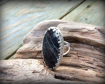 Raven - Big Pyrite In Quartz Statement Ring -  Sz. 8.5