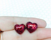 Red Glitter Resin Heart Post Earrings