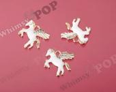 1 - Little Gold Plated Crystal Rhinestone Enamel Pegasus Winged Horse Charm, Pegasus Horse Charm, Horse Charm, 24mm x 23mm (R8-172)