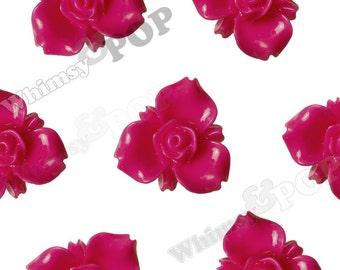 Hot Pink Fuschia Flower Cabochons, Trillium Cabochons, Lily Flatback, 3 Petal Flower Cabochons, Flatback Flower, Flatback Rose 16mm (R8-020)