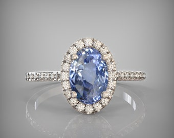 CERTIFIED  2.12 ct heated cornflower blue sapphire in gold diamond ring SKU CATALIN-b001