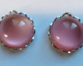 Vintage Pink Moonstone Cabochons in 11mm Silver Ruffled Settings QTY - 2