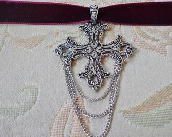 Maroon Velvet Cross Choker with Chain Dangle Accents