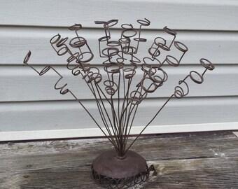 Vintage Flower Arranger Whimsical Rustic Wire Decor