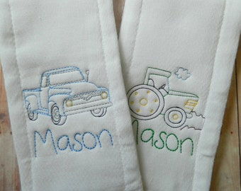Set of 2 Boys Burp Cloths-vintage baby, newborns, babies, baby shower gift, personalized baby gift, tractor, truck