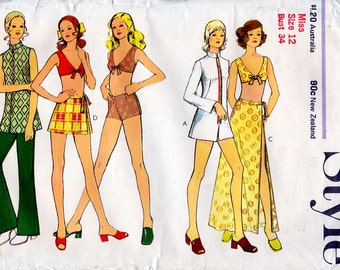 1970s Beach Outfit Pattern Style 3614 Vintage Sewing Pattern Bikini Top Shorts Wrap Skirt Beach Robe & Trousers Bust 34