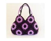 Purple flower crochet hand bag, crochet tote bag, shoulder bag, crochet purse