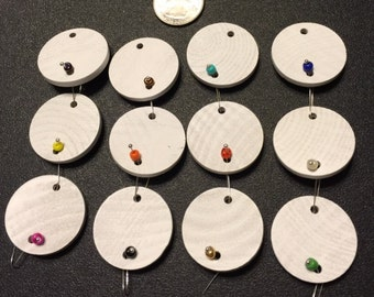 30 - White Painted Wooden Circles for Birthday Boards - Ready to Use - Unique Hang System - No Tools Required