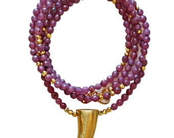 ruby gold horn necklace