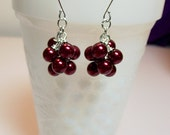Red Pearl Cluster Silver Earrings, Valentines Mothers Day Christmas Gift, Mom Sister Bridesmaid Aunt Grandmother Jewelry Gift, Cocktail