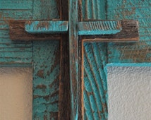 Turquoise unique one of a kind rustic distressed reclaimed wood cross