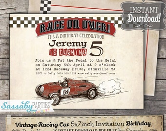 Vintage Racing Car Invitation - INSTANT DOWNLOAD - Editable & Printable Birthday Party Invitation by Sassaby Parties