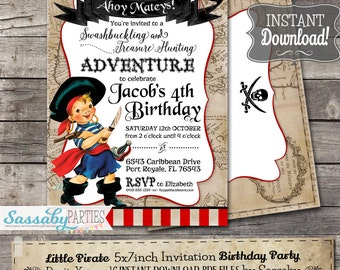 Little Pirate Birthday Party Invitation - INSTANT DOWNLOAD - Editable & Printable Invite by Sassaby Parties