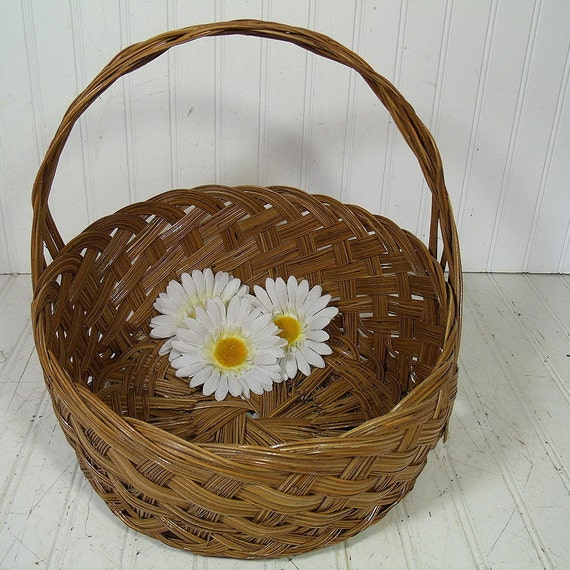 Large Round Wicker Baskets With Handle : Vintage large round natural wicker deep decorator basket