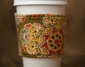 Reversible Coffee/Tea Cozy Sleeve, Thermally Insulated - Fall Flowers