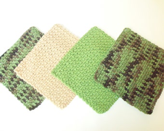 Dishcloths Set - Camo - Set of 4 in Camouflage, Tan, and Sage Green