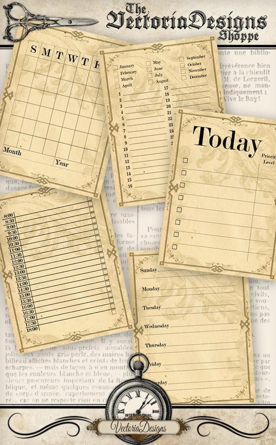 Journal Cards Calendar printable junk journal