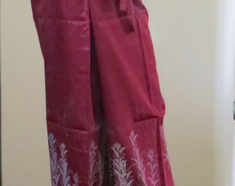 Red Silk Fisherman Pants with Floral Pattern Silk Screen
