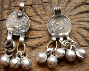 2 small Kuchi  bell dangle 25 cent coin tarnished  pendants