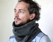 Mens cowl scarf in herringbone wool knit, Snock®, mens scarf, gift idea men