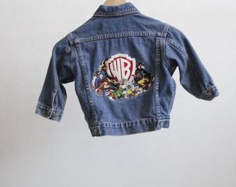 vintage BOYS blue denim BIKER jean jacket childern's coat