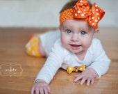 Pumpkin Polka dot Bow -- beautiful boutique bow made with pumpkin polka dot ribbon, optional headband