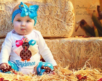 Baby Girl Thanksgiving Outfit -- Color Pop Turkey -- bodysuit and leg warmers - personalized and great for Thanksgiving