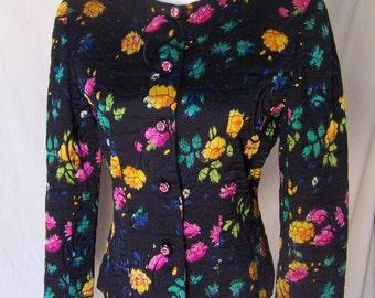 EMANUEL UNGARO vintage 80s silk floral quilted jacket blazer S/M