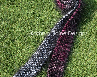 Pink Black and White Hand Knit Women's Scarf