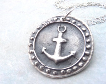 Nautical anchor wax seal necklace hand stamped from fine silver