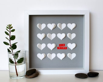 Personalised Wedding Art – 3D Paper Art / Valentines Gift / Anniversary Gift / Wedding Decor