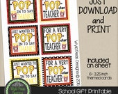 PRINTABLE Back to School, Popcorn, Printable PDF, jpeg, 8.5 x 11, Pinterest, Teacher Appreciation, school, teacher gift