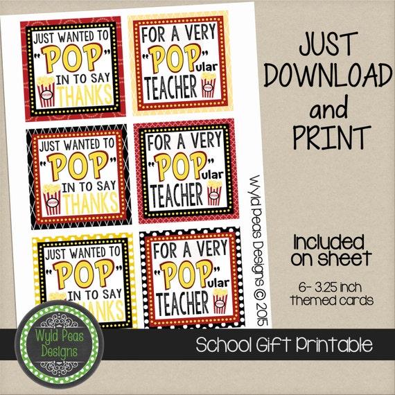 PRINTABLE Back to School Popcorn Printable PDF jpeg 8.5 x