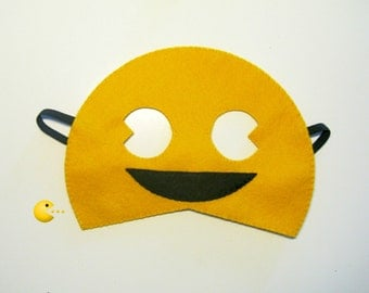 Pac-Man felt mask (2 years - aduls size) - yellow black - Pacman game - kids boys party costume - soft Dress up play Photo prop accessory