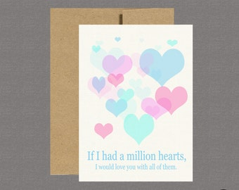 Military Greeting Card - If I Had A Million Hearts - Care Package, Boot Camp, Basic Training, Deployment, Military Card