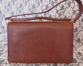 Vintage Kelly Handbag Purse Faux Croc or Lizard 1950's 1960's