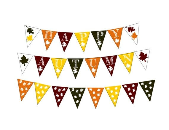 Happy Autumn Bunting Banner Bundle Paper Garland Seasonal Decor Pdf Prints Autumn Banner Printable Party Banner Fall Colors Autumn Leaves