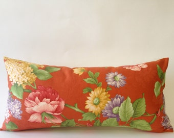 Vintage Decorative Bolster Pillow - Vintage Pindler and Pindler Print -  Solid Cream  Backing- Invisible Zipper Closure