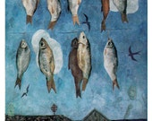 """V. Vatenin """"Fishes and birds"""" Postcard -- 1977, Sovetski Khudozhnik Publ."""