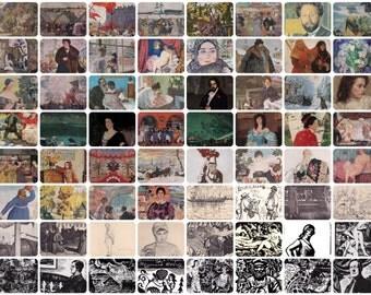 Boris Kustodiev. Set of 64 Vintage Prints, Postcards -- 1950s-1980s