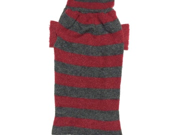 Big Dog Clothing, Designer Dog Sweater, Large Super Soft Red and Gray Striped Christmas Handmade Pet Puppy Apparel 0132