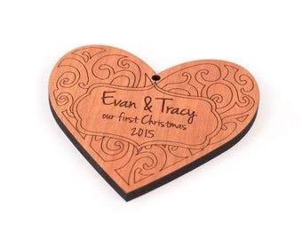 personalized heart ornament with FREE shipping - keepsake gift for baby, children, teachers, and newlyweds