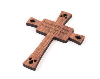 personalized cross wooden ornament -   keepsake religious gift for baptism, christening, confirmation, or memorial
